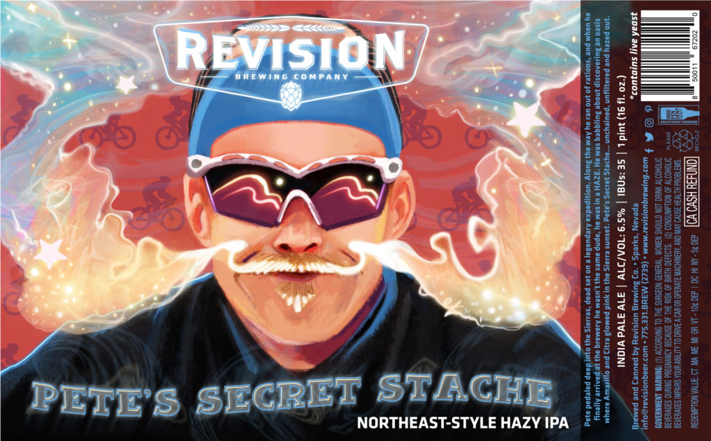 REVISION Pete's Secret Stache 16oz Can Label